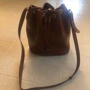 Brown leather bucket purse
